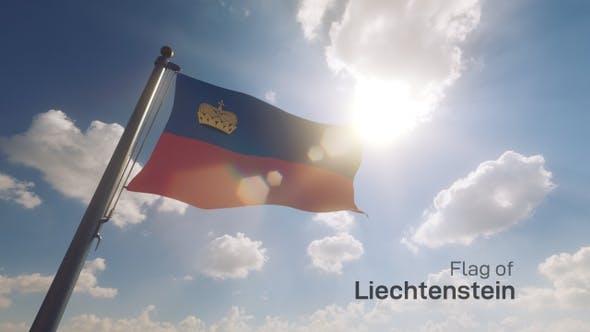 Liechtenstein Flag on a Flagpole V2