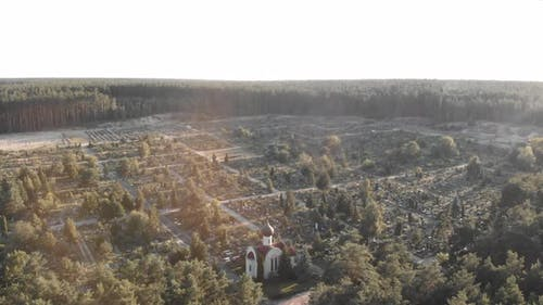 Old cemetery. Church and cemetery at sunrise