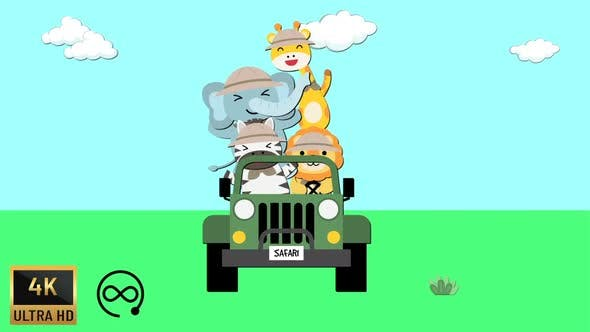 4K - Safari Tour with Animals