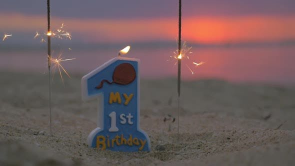 Thumbnail for Candle for Baby Boy First Birthday