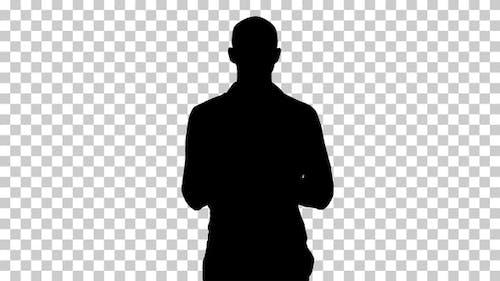 Silhouette  man walking , Alpha Channel
