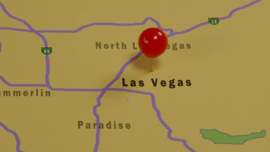 Thumbnail for Vegas Pinned On A Map Of USA 02