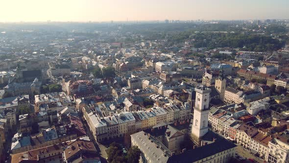 Thumbnail for Flight Over Roofs, Streets. Aerial Drone Video of City Lviv, Ukraine. Market Square and the Central