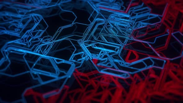 Cyber Trails Background Red Blue