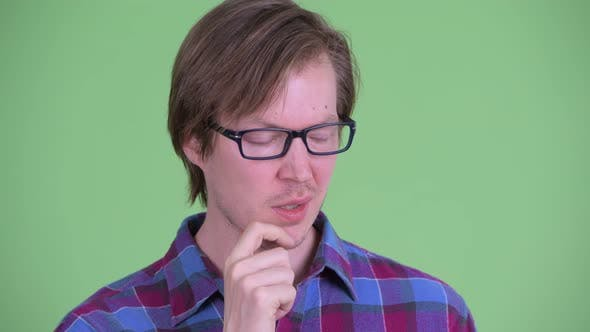 Thumbnail for Face of Stressed Young Handsome Hipster Man Thinking