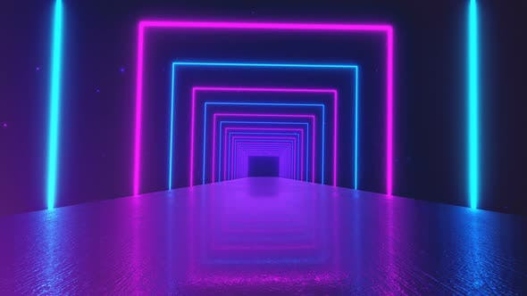 Thumbnail for Abstract Motion Geometric Background, Glowing Neon Squares Creating a Rotating Tunnel