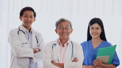 Portrait of confident Medical team in hospital