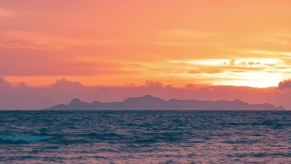 Thumbnail for Dramatic sunset over the mountains and the sea of Koh Samui, Thailand