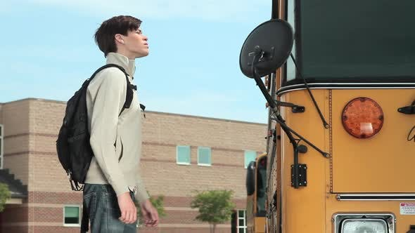 Thumbnail for High school student knocking on school bus door