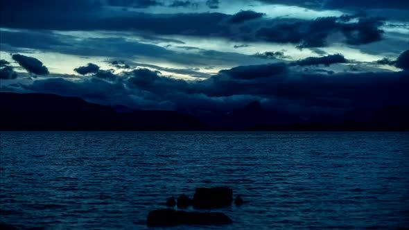 Thumbnail for Dramatic blue hour sky time lapse.