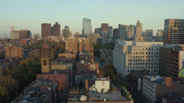 Panning left along Boston's Back Bay