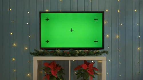 Christmas TV with Green Screen Composited