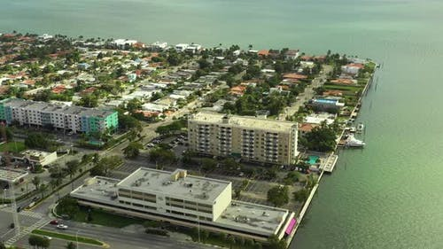 Waterfront realty Miami Beach shot with aerial drone