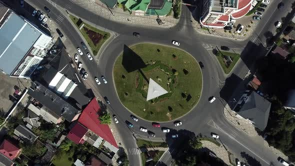 Thumbnail for City Roads From Above - Top Down View of Modern Road Circle Intersection in August