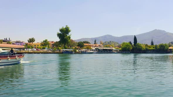 Thumbnail for Inspection of the Banks of the River Dalyan with Moored Boats and Mountain Landscapes