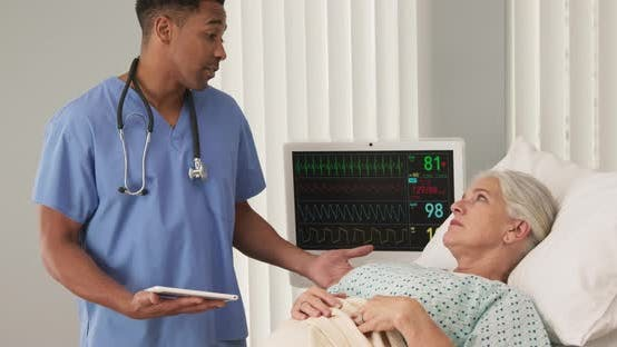 Thumbnail for Sick elderly woman in hospital bed connected to ECG monitor talking to nurse