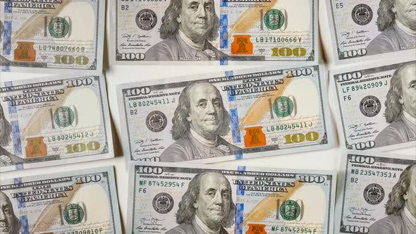Thumbnail for STOP MOTION Zoom in Effect One Hundred Dollar Bills Are Dancing on a White Background