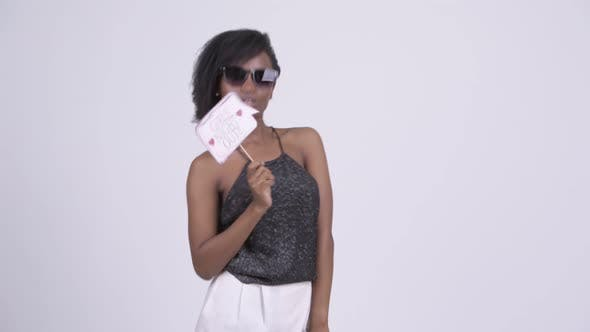 Thumbnail for Happy Young Beautiful African Woman Wearing Sunglasses and Ready To Party