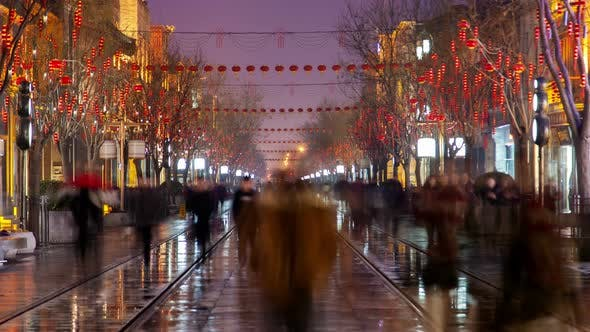 Thumbnail for Chinese People Walk on Qianmen Street in Beijing Timelapse