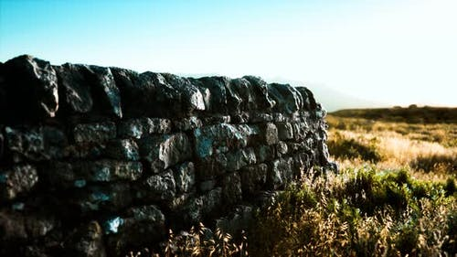 Scottish Land Border Stone Wall at Sunset
