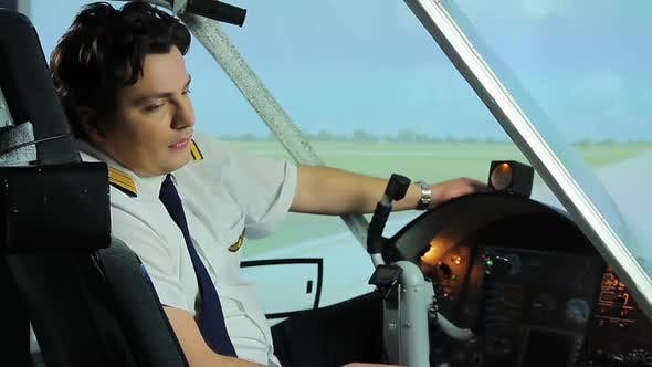 Thumbnail for Overworked Airplane Pilot Sitting in Cockpit and Dreaming of Vacation, Hard Work