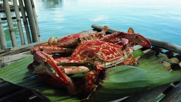 Thumbnail for Cooked Crab on a Banana Leaf