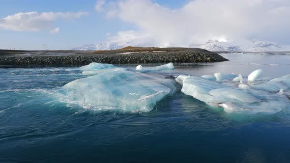 Thumbnail for Iceland View Of Beautiful Glacier Lagoon In Winter With Iceberg 3