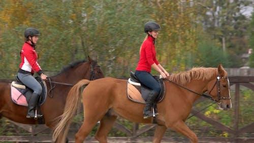 Female Jockeys on Horseback Galloping