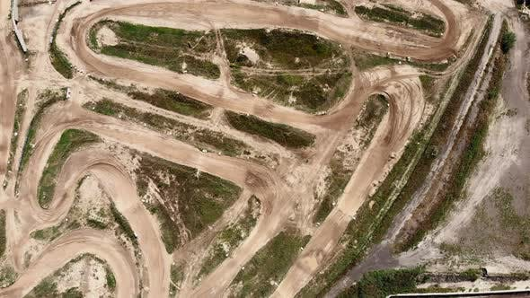 Extreme sport motorcycle race track. Aerial shot of motocross road track.
