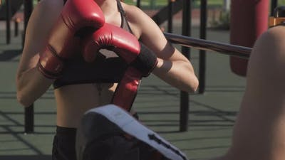Sport Couple Practicing Boxing Outdoors