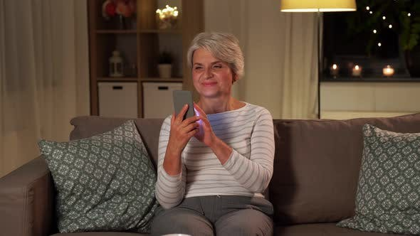 Thumbnail for Happy Senior Woman with Smartphone at Home
