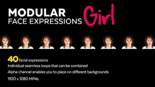40 Modular Face Expressions Girl