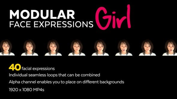 Thumbnail for 40 Modular Face Expressions Girl