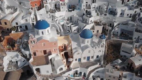 Aerial of Oia Town, Santorini