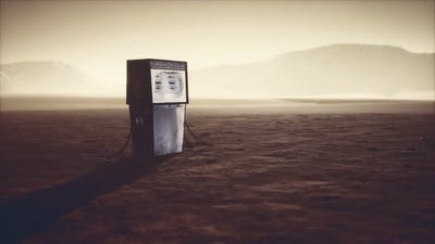 A Vintage Rusted Gas Pump Abandoned in the Desert