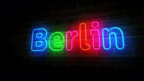 Symbole de Berlin néon sur mur de briques 3d