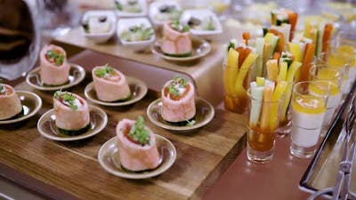 Mix Canapes on a Tray During a Coffee Break