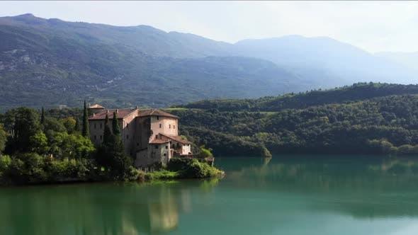 Flying toward a Castle at Toblino lake