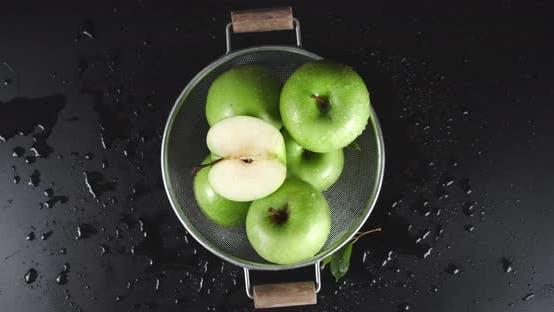 Thumbnail for Rotating Fresh Green Apples in Basket