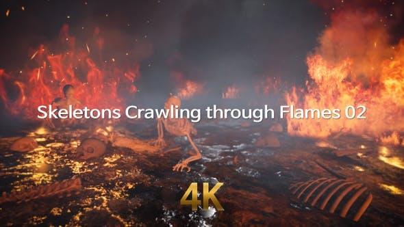 Skeletons Crawling Through Flames 4K 02