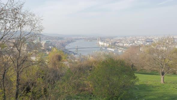 City scape of Budapest and river Danube from Gellert hill slow tilt  4K 3840X2160 30fps UltraHD  foo