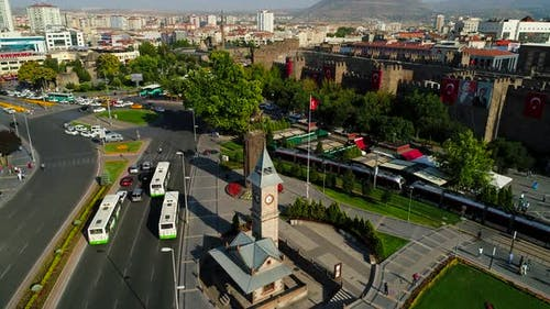 Tram In Crowded City Square Kayseri