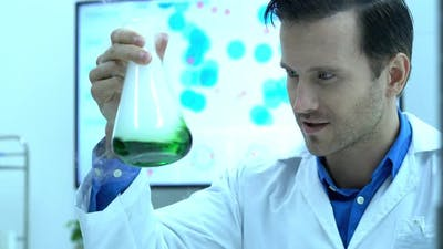 Scientist experimenting with chemicals