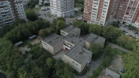 Aerial view of empty preschool building in city 08