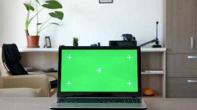 Zoom in on Green Screen Mock Up Laptop