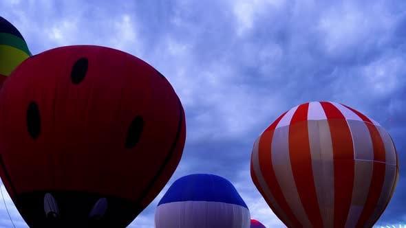 hot air balloon at a night