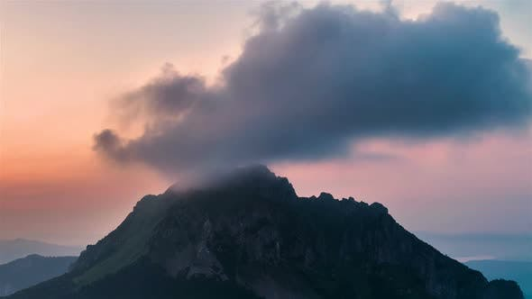 Thumbnail for Colorful Sky Clouds Over Alpine Mountains Peak in Summer Morning Nature