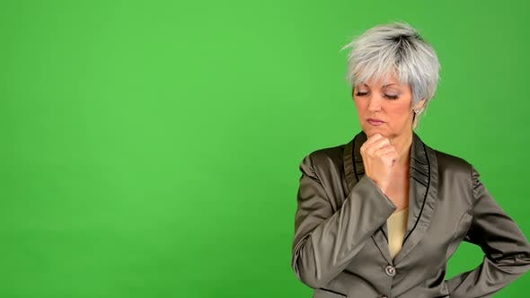 Thumbnail for Business Middle Aged Woman Thinking - Green Screen - Studio