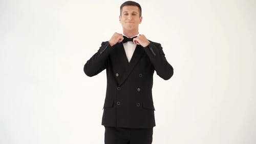 handsome man in a suit with bow tie is posing in front of a mirror at the exit of the room.
