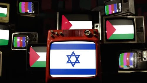 Israel Star of David Flag and Palestinian Flags on Retro TVs.